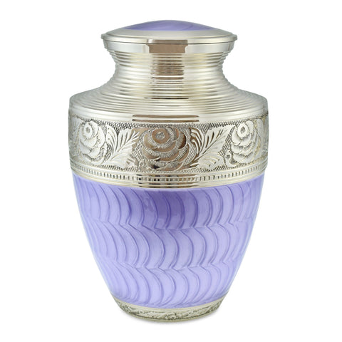 Gwynver Purple Patterned with Fine Nickel Engraving Adult Cremation Urn for Ashes - Cherished Urns