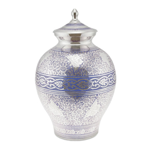 Poldhu Blue Engraved Flutter Adult Cremation Urn for Ashes - Cherished Urns