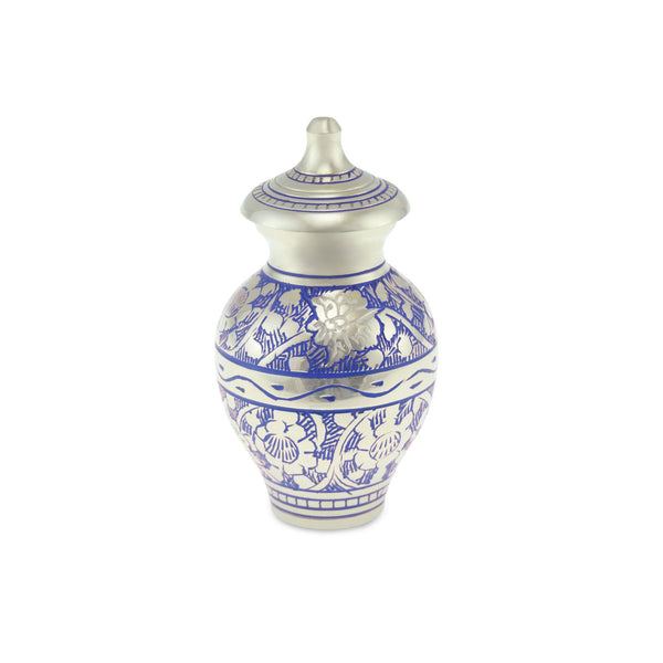Poldhu Keepsake Blue Engraved Flutter Adult Cremation Urn - Cherished Urns