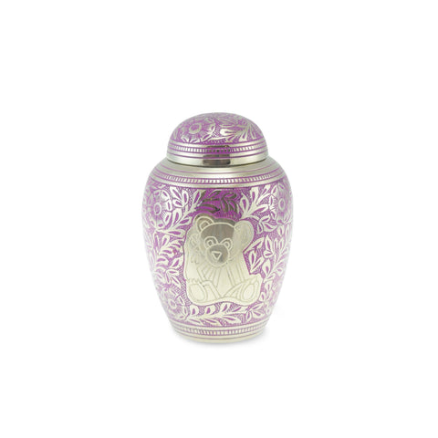 Porth Teddy Bear Brass Child Urn in Purple - Cherished Urns