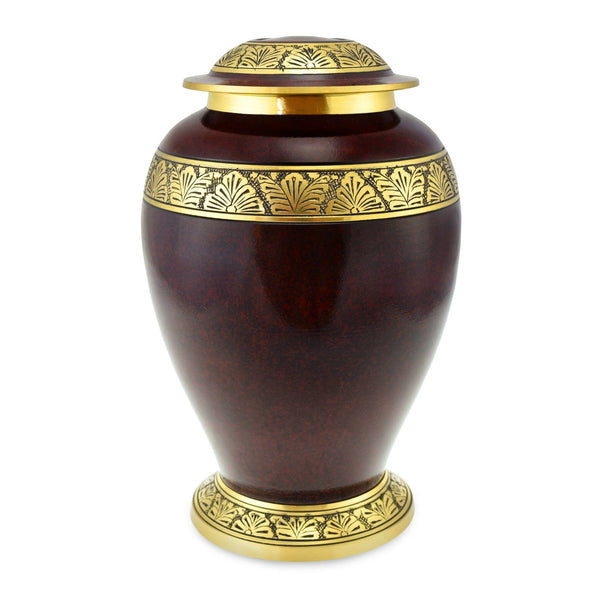 Towan Polished Rust Ornate Brass Banded Adult Cremation Urn for Ashes - Cherished Urns
