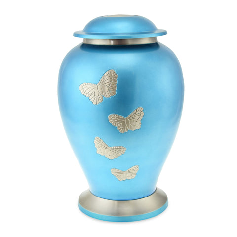 Blue Butterfly Adult Cremation Urn for Ashes - Cherished Urns