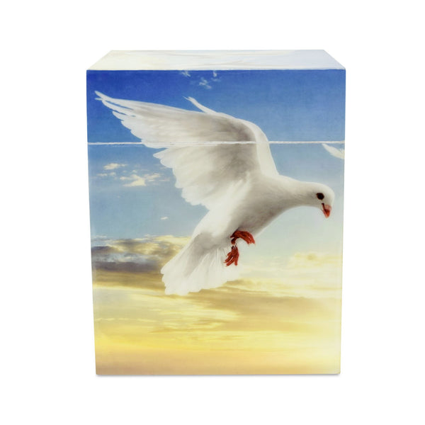 Peace Wooden Painted Dove Cube Adult Cremation Urn for Ashes - Cherished Urns