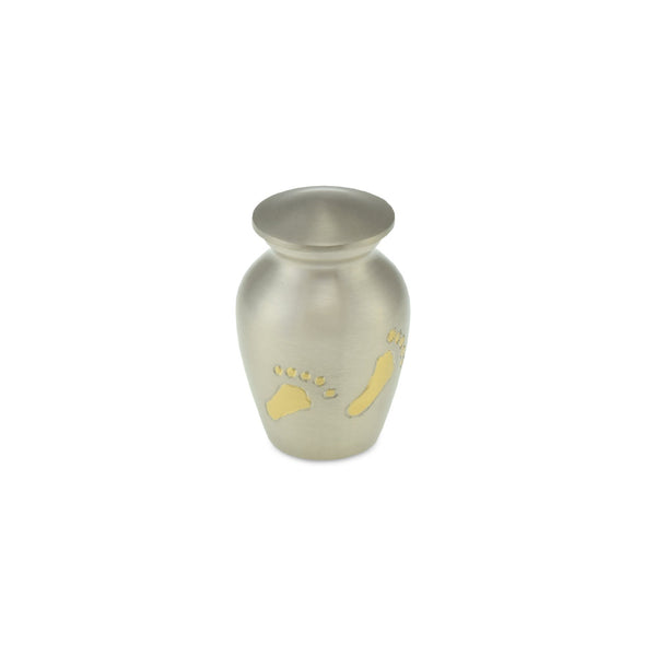 Engraved Footsteps Brass Child Keepsake / Miniature Urn in Pewter - Cherished Urns