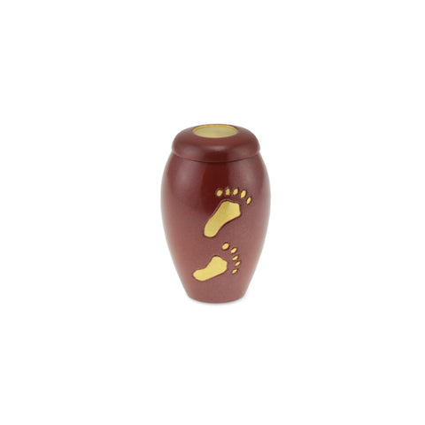 Footsteps Brass Child Keepsake / Miniature Urn in Garnet - Cherished Urns