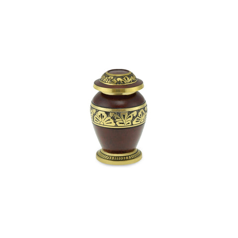Towan Keepsake Polished Rust Ornate Brass Banded Adult Cremation Urn - Cherished Urns