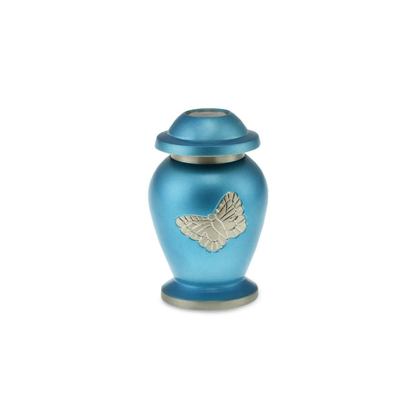 Butterfly Brass Adult Keepsake / Miniature Cremation Urn in Blue - Cherished Urns