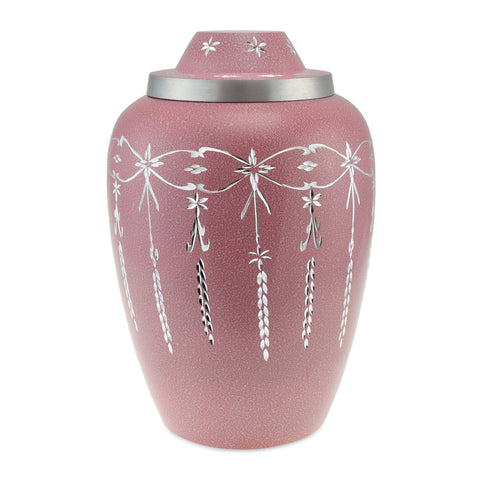 Casscade Metal Adult Cremation Urn for Ashes, in Pink - Cherished Urns