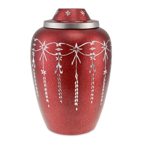 Casscade Adult Metal Cremation Urn for Ashes, in Red - Cherished Urns
