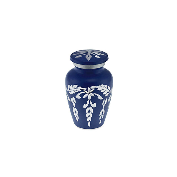 Flourish Metal Adult Keepsake / Miniature Cremation Urn for Ashes in Navy Blue - Cherished Urns