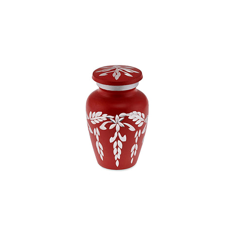 Flourish Metal Adult Keepsake / Miniature Cremation Urn for Ashes in Matt Red - Cherished Urns