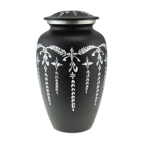 Flourish Metal Adult Cremation Urn for Ashes in Matt Black - Cherished Urns
