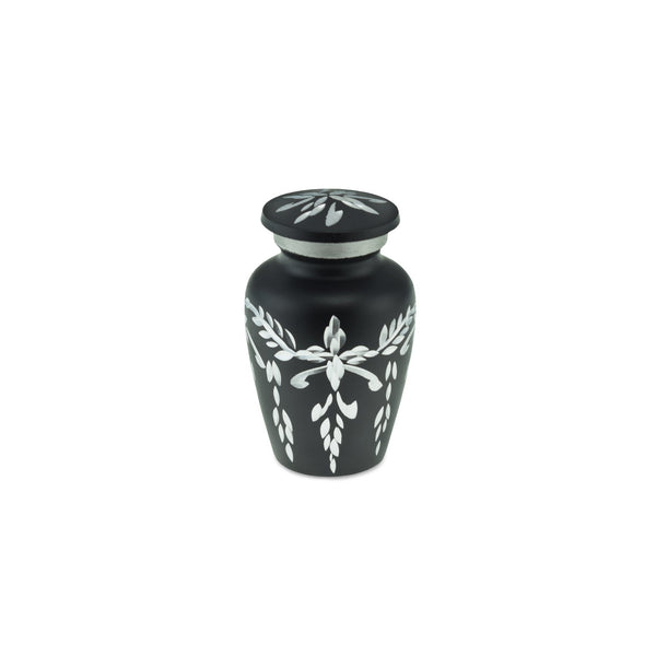 Flourish Metal Adult Keepsake / Miniature Cremation Urn for Ashes in Matt Black - Cherished Urns