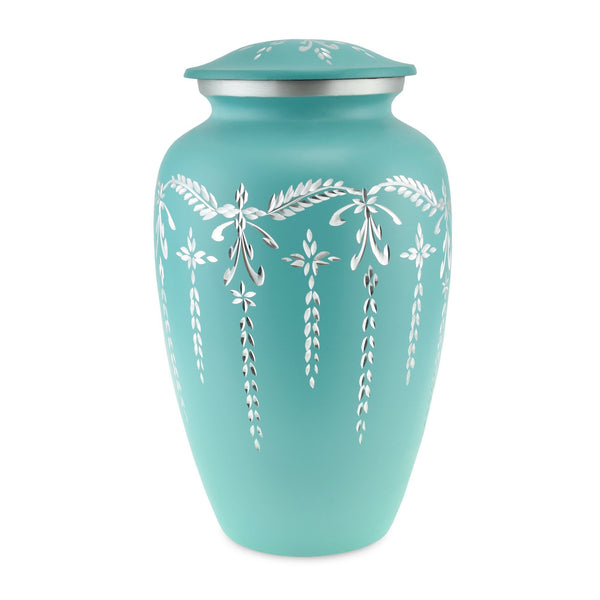 Flourish Metal Adult Cremation Urn for Ashes in Teal - Cherished Urns
