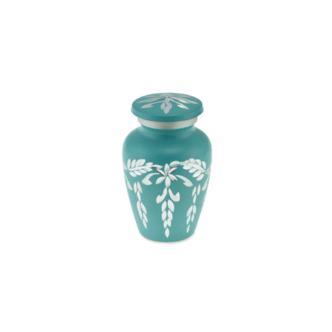 Flourish Metal Adult Keepsake / Miniature Cremation Urn for Ashes in Teal - Cherished Urns