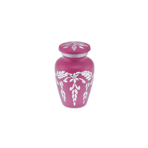 Flourish Metal Adult Keepsake / Miniature Cremation Urn for Ashes in Hot Pink - Cherished Urns