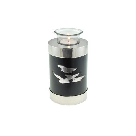 Going Home Black & Nickel Matt Tea Light Cremation Urn Keepsake - Cherished Urns
