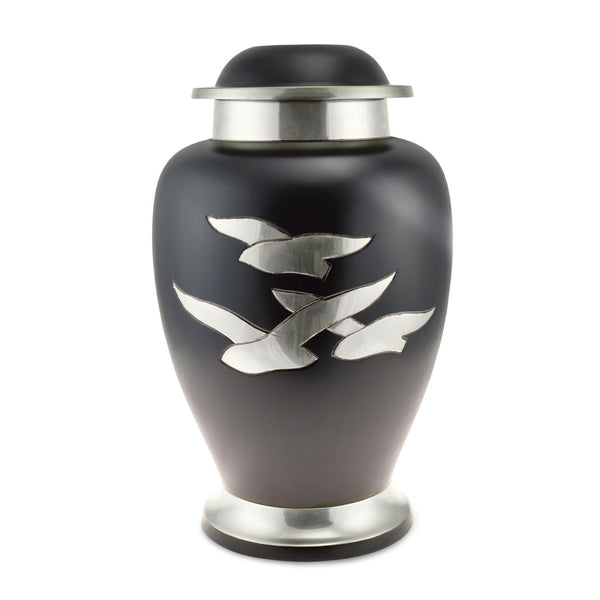 Going Home Black & Nickel Matt Double / Large Adult Cremation Urn for Ashes - Cherished Urns