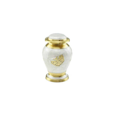 Kaleidoscope White Pearl Butterfly Keepsake Cremation Urn for Ashes - Cherished Urns