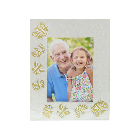Kaleidoscope White Pearl Butterfly Photoframe - Cherished Urns