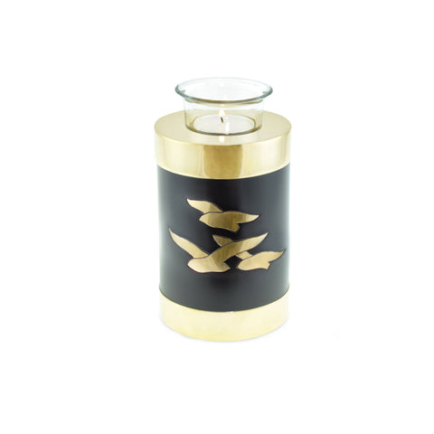 Going Home Black & Bronze Matt Tea Light Cremation Urn Keepsake - Cherished Urns