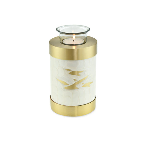 Going Home White Pearl & Bronze Tea Light Cremation Urn Keepsake - Cherished Urns