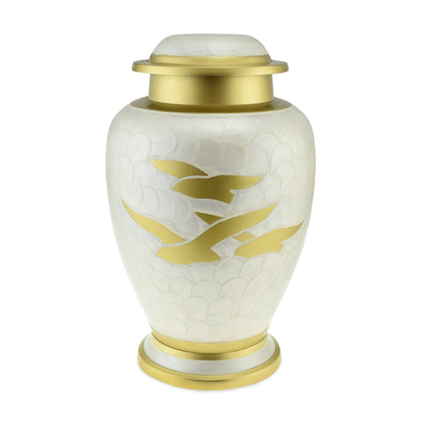 Going Home White Pearl & Bronze Double / Large Adult Cremation Urn for Ashes - Cherished Urns
