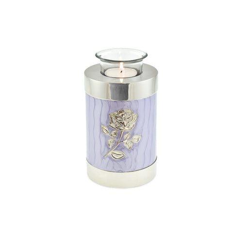 Bloom Purple Patterned With Rose Tea Light Cremation Urn Keepsake - Cherished Urns