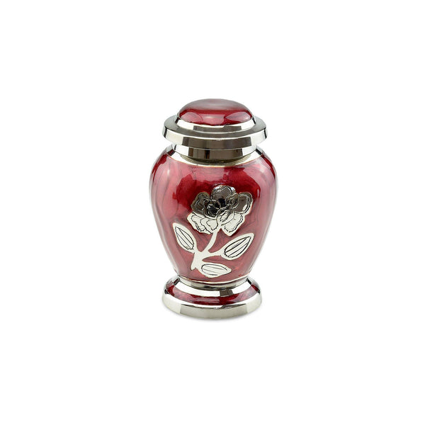 Bloom Brass Adult Keepsake / Miniature Cremation Urn in Red - Cherished Urns
