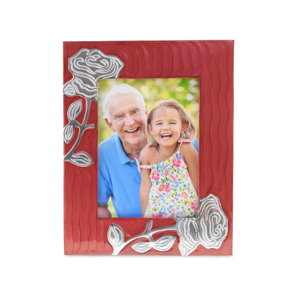 Bloom Red Patterned With Rose Photoframe - Cherished Urns