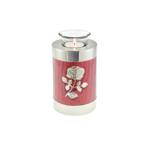 Bloom Red Patterned With Rose Tea Light Cremation Urn Keepsake - Cherished Urns