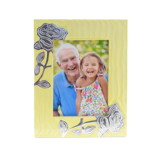 Bloom Yellow Patterned With Rose Photoframe - Cherished Urns