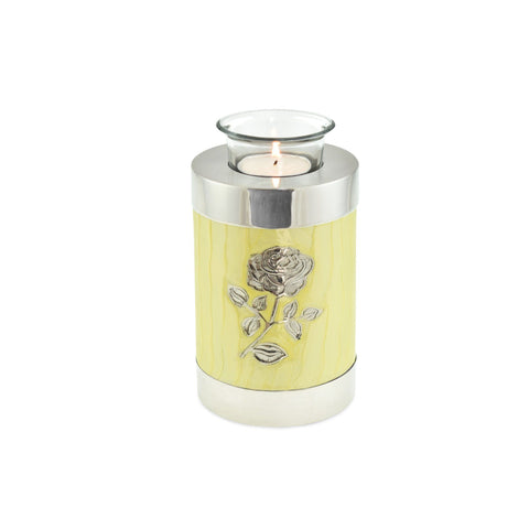 Bloom Yellow Patterned With Rose Tea Light Cremation Urn Keepsake - Cherished Urns