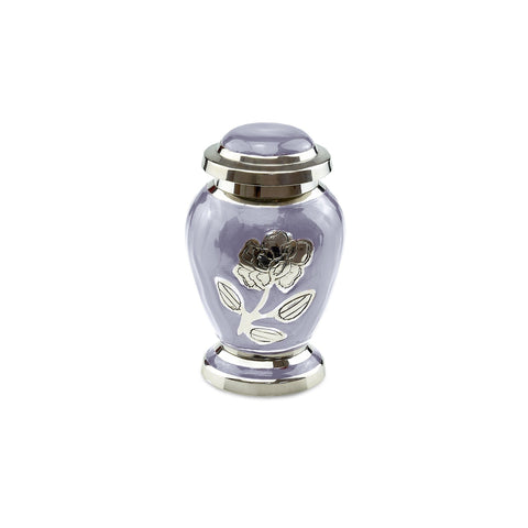 Bloom Brass Adult Keepsake / Miniature Cremation Urn in Purple - Cherished Urns
