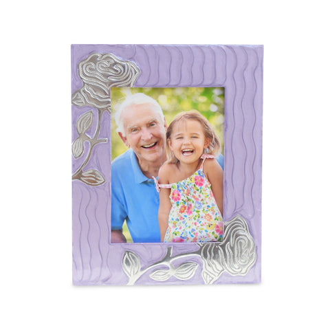 Bloom Purple Patterned With Rose Photoframe - Cherished Urns