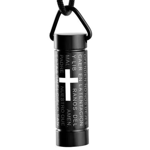 Black Cylinder with Cross Memorial Ash Keepsake Cremation Pendant - Cherished Urns