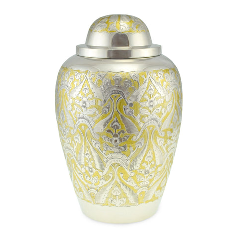 Clovelly Brass Adult Cremation Urn for Ashes in Gold & Silver - Cherished Urns