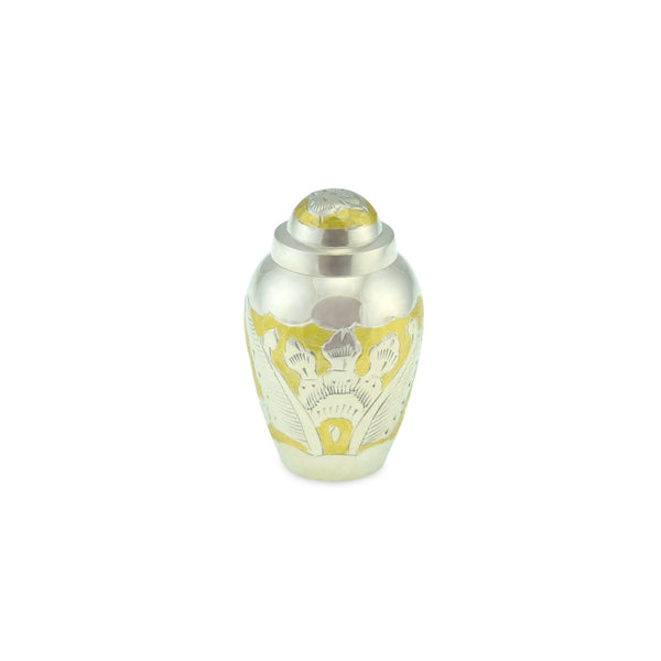 Clovelly Brass Adult Keepsake / Miniature Cremation Urn for Ashes in Gold & Silver - Cherished Urns