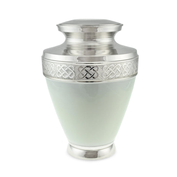 Budleigh Brass Adult Cremation Urn for Ashes in Gloss White - Cherished Urns