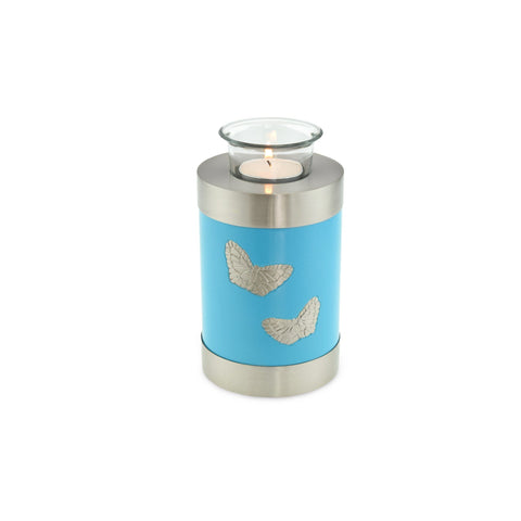 Blue Butterfly Tea Light Cremation Urn Keepsake - Cherished Urns