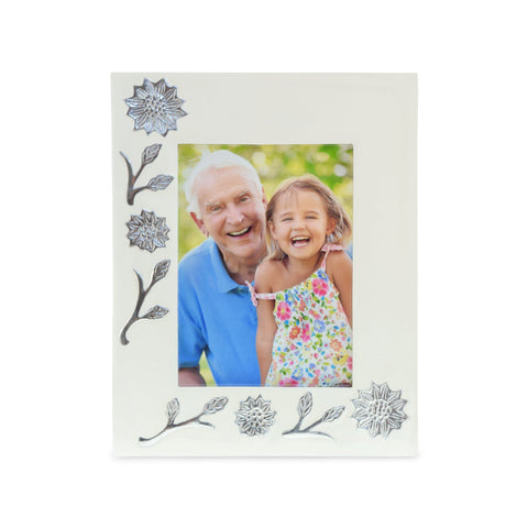 Sun Flower Polished White Photoframe - Cherished Urns