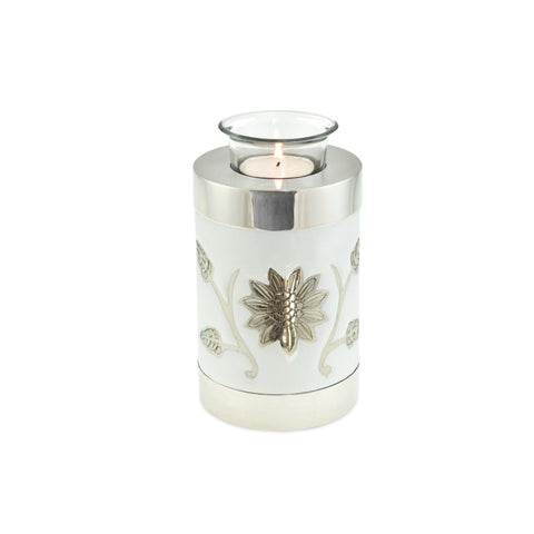 Sun Flower Polished White Tea Light Cremation Urn Keepsake - Cherished Urns
