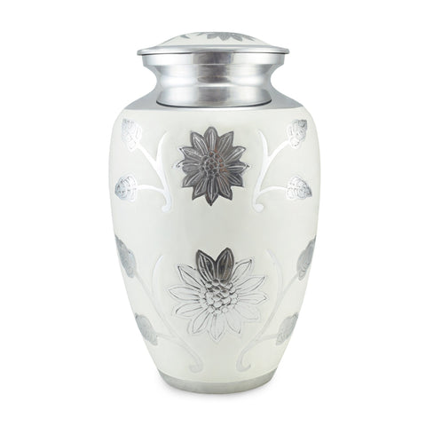 Sun Flower Polished White Double / Large Adult Cremation Urn for Ashes - Cherished Urns