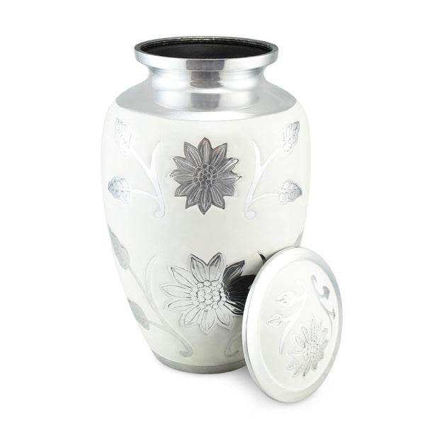 Sun Flower Polished White Double / Large Adult Cremation Urn