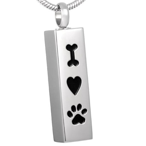 Silver I Heart Paw Print Memorial Ash Keepsake Cremation Pendant - Cherished Urns