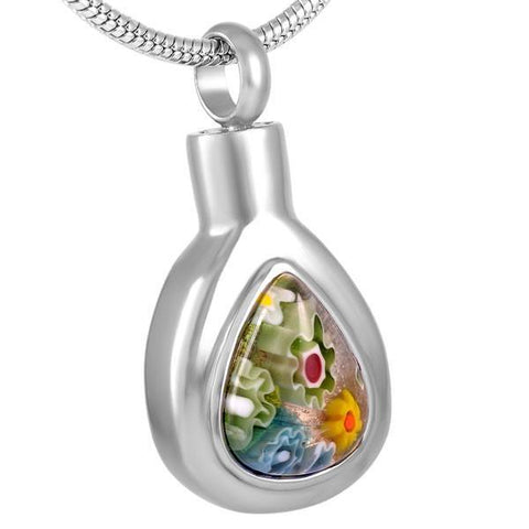 Multicolour Glass Water Drop Memorial Ash Keepsake Cremation Pendant - Cherished Urns