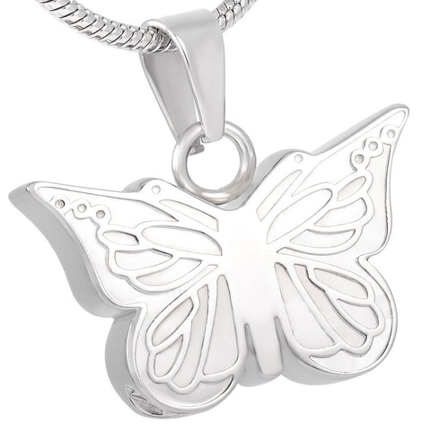 Silver Butterfly Memorial Ash Keepsake Cremation Pendant - Cherished Urns