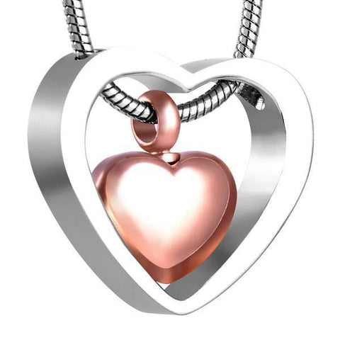 Silver and Bronze Heart Memorial Ash Keepsake Cremation Pendant - Cherished Urns