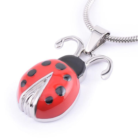 Red Ladybird Memorial Ash Keepsake Cremation Pendant - Cherished Urns