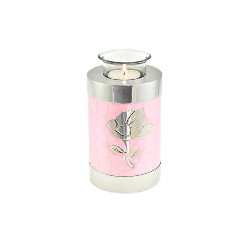 Rose Pink Patterned Tea Light Cremation Urn Keepsake - Cherished Urns